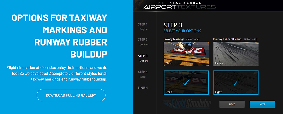 Options for Runway and taxiway graphics